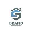 hexagon letter s house logo vector image