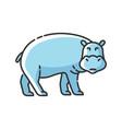 hippo rgb color icon vector image