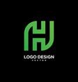 initial h logo design vector image vector image