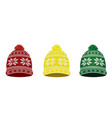 knitted winter caps with nordic pattern vector image