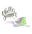 Lettering Hello summer shoes vector image vector image