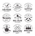 manicure and pedicure salon black emblems vector image vector image