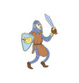 medieval knight in metal armor with steel sword vector image vector image
