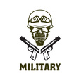 military emblem with skull and guns vector image