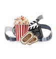 movie cinema poster popcorn tape tickers vector image vector image