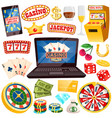 online casino with all kinds gamblings set vector image