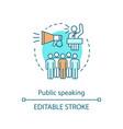 public speaking concept icon oratory vector image vector image