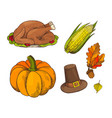 pumpkin and cooked meet turkey icons vector image