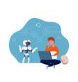 robotics for children boy programming robot vector image