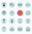 set of 16 meal icons includes tea bowl doorway vector image vector image