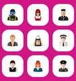 set of 9 editable job flat icons includes symbols vector image vector image