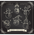 Set of chalk snowmen vector image vector image