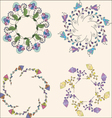 Set of floral bouquets hand drawn floral wreaths vector image vector image