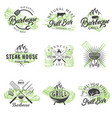 set vintage bbq badges labels logos vector image vector image