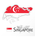singapore map and flag vector image vector image