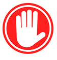Stop sign with human hand Warning sign hazardous vector image vector image