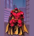 superhero sitting in city vector image vector image