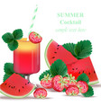 watermelon and strawberry smoothie delicious vector image vector image