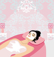 woman with mask on his face relaxes in the spa vector image vector image