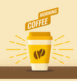 morning coffe with paper vector image