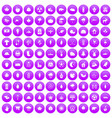 100 leaf icons set purple vector image vector image