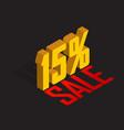 15 percent off sale golden-yellow object 3d