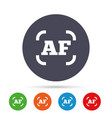autofocus photo camera sign icon af settings vector image vector image