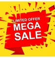 Big sale poster with LIMITED OFFER MEGA SALE text vector image vector image