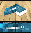 blue business card template with a circle pattern vector image