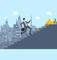businessman climbs up ladder to money vector image