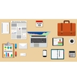 Businessman desk with laptop vector image vector image