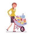 Businesswoman pushing a wheelbarrow full of likes vector image