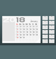 calendar of 2018 year planner design template vector image vector image