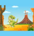Cartoon happy tyrannosaurus dinosaur vector image vector image