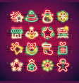 christmas colorful neon icons vector image vector image
