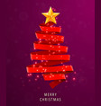 christmas tree made of red ribbon on pink vector image vector image