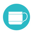 circle light blue with coffee cup vector image vector image
