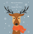 Cute cartoon deer with scarf merry christmas and