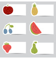 Doodle fruits cards in retro colors vector image vector image