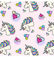 doodle pattern unicorn head and heart vector image vector image