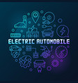 electric automobile round colorful outline vector image vector image