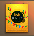 festa junina invitation poster design template vector image vector image