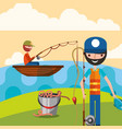 fishing people cartoon vector image