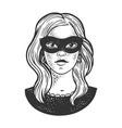 girl in black masquerade mask sketch vector image