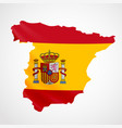 hanging spain flag in form map kingdom of vector image vector image