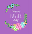 happy easter day card with flowers and eggs vector image
