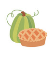 happy thanksgiving day green pumpkin and cake vector image