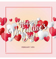 happy valentines day card white and red hearts vector image