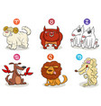 horoscope zodiac signs set with dog characters vector image
