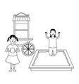 House with swing playground game in black and